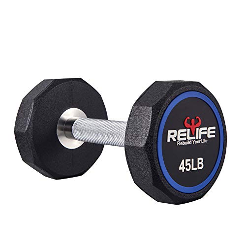 RELIFE REBUILD YOUR LIFE Decagon Dumbbell Heavy Weights Barbell Metal Handles for Strength Training Home Gym Exercise…