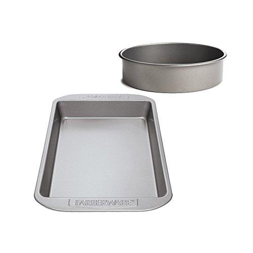 Bundle Non-stick Rectangular Cake Pan & Round Baking Pan, Mix tray set