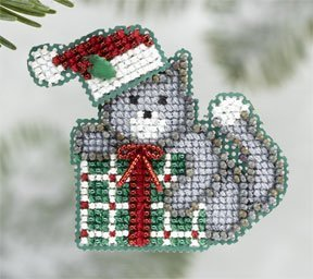 Kitty's Gift Beaded Counted Cross Stitch Christmas Ornament