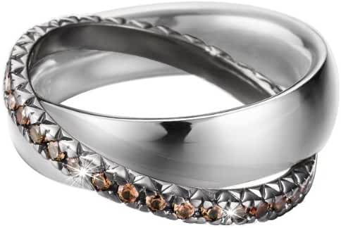 ESPRIT Women's Brilliance Couple Brown Ring Sterling Silver 925/1000 11.1 G Zirconium Oxide Crystal
