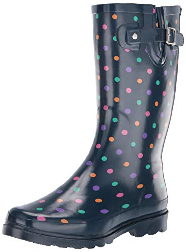 Western Chief Women Women's Waterproof Printed Tall Rain Boot, Simple dot Navy, 8 M US