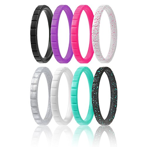 Silicone Wedding Ring For Women By ROQ, Set of 8 Thin Stackable Silicone Rubber Wedding Bands - Turquoise, Pink, Purple, Black, White, Silver, Black/Turquoise Glitter, White/Pink Glitter - Size 11