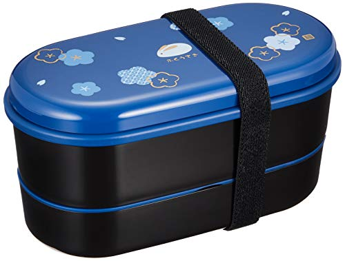 Skater KSX2-Blue3680 Japanese 2-Tier Bento Lunch Box with Belt, Bag Chopsticks