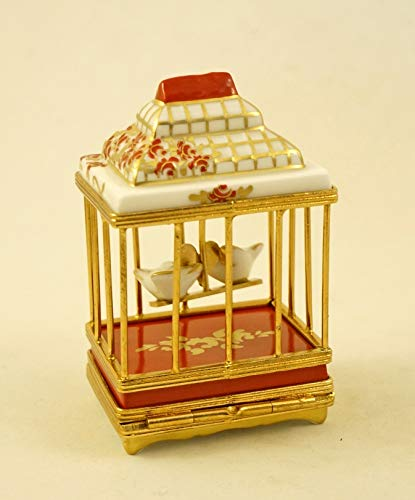Authentic French Porcelain Hand Painted Limoges Box Cute Love Birds in Gorgeous Bird Cage with Red Roses