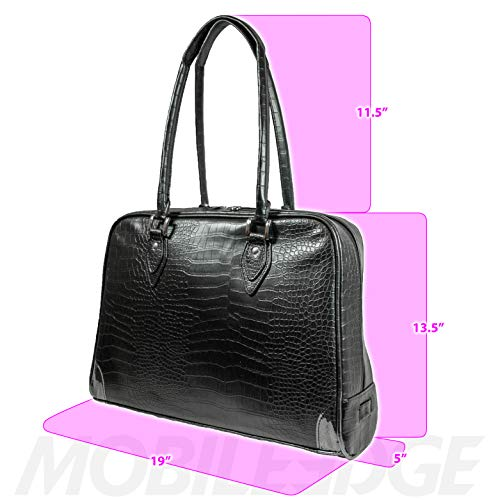 Mobile Edge Women's Milano 17 Inch Business Laptop Handbag Faux Croc, Soft Poly-Suede Lining Protection, Black MEMC1L by Mobile Edge (Image #5)