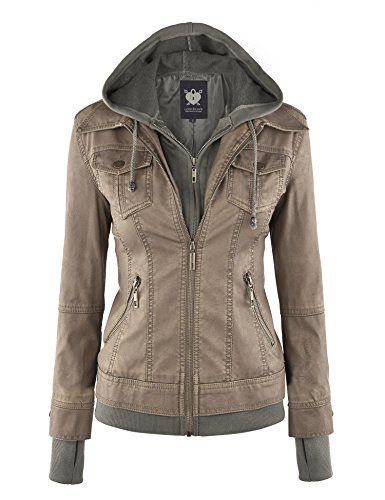 - Lock and Love LL WJC664 Womens Faux Leather Jacket with Hoodie L Khaki