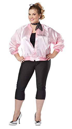 California Costumes Women's Plus-Size The Pink Satin Ladies Plus, Pink, 3X (Pink Ladies Jacket Costume)