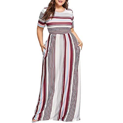 Womens Casual Plus Size Dress Striped Short Sleeve Dresses Summer Long Maxi Dress Wine