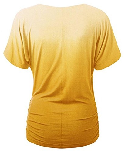 LemonGirl Women V-Neck Cotton Pullover T-Shirt Blouse Tops Yellow