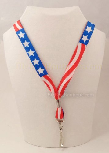 (American Flag Neck Lanyard for Keys or Badge - Red, White, Blue)