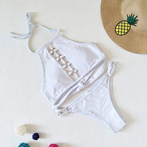 In Acciaio Floreale Schienale A Bagno Donna Intera bikini Retrò Costume Vita Triangolo Da Vintage Piatto appeso bikini Cinturino Msndian Senza Set Scorrevole Set Bianca Sexy Collo Angerella 7nXaSqnI