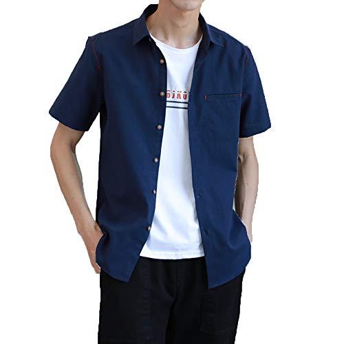 Hisitosa シャツ メンズ 半袖 レッドステッチ カジュアル オックスフォード シャツ 無地 夏服 トップス