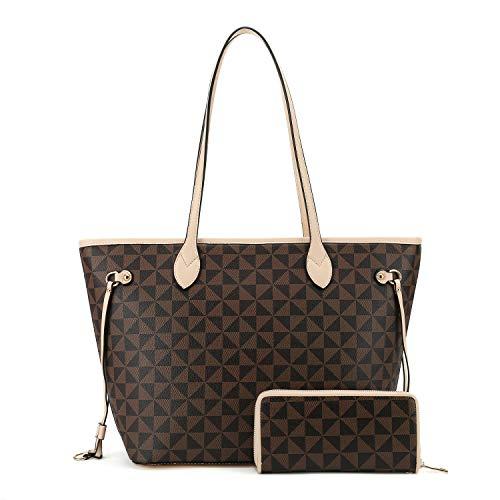 (Women Top Handle Satchel Handbags Shoulder Bag Tote Purse wallets set apricot)
