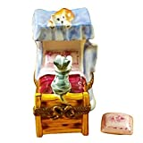 CATS ON BED - LIMOGES PORCELAIN FIGURINE BOXES AUTHENTIC IMPORTS