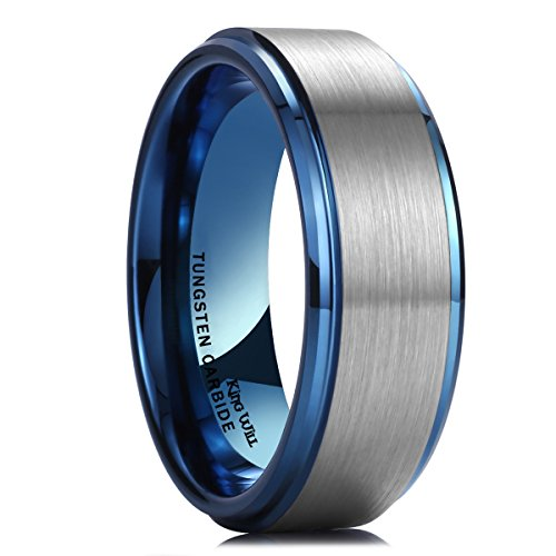 King Will DUO 8mm Blue Tungsten Carbide Wedding Band Ring Brushed Center Polish Finished Comfort Fit 11 - 10 Mm Band Ring