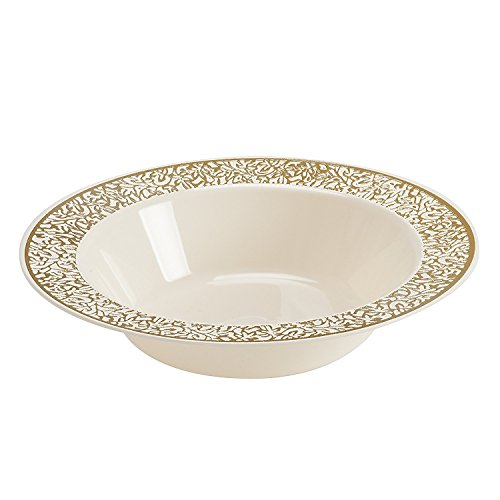 Disposable Plastic Bowls | Premium Quality Ivory & Gold Dinnerware With Golden Lace Rim | Excellent for Weddings, Baby & Bridal Showers, Parties & More | Heavy Duty 12 Ounce Bowl | 40 Count