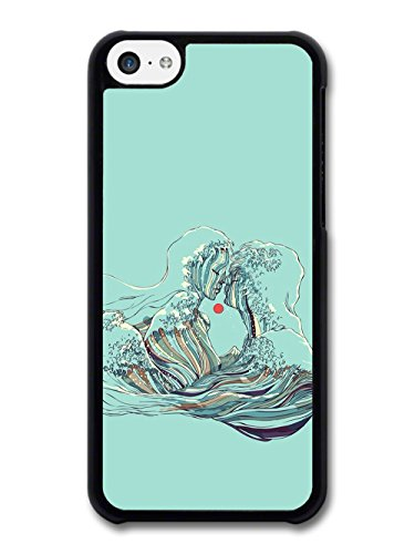 Couple Kiss with Sunset Waves on Turquoise case for iPhone 5C
