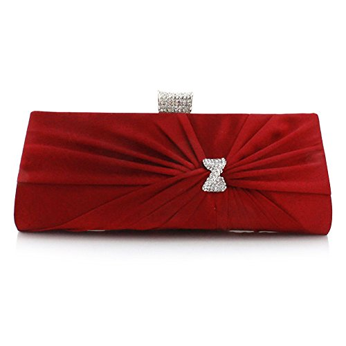 Bag Bridal Party New Wedding Womens' Clutch Designer Satin Evening Bag Prom Red Wine Pleated Diamante UNYU wqv75tPx7