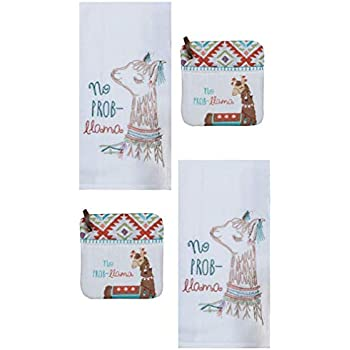 Kay Dee Designs 4 Piece Lovely Llama Kitchen Bundle - 2 Embroidered Flour Sack Towels and 2 Potholders