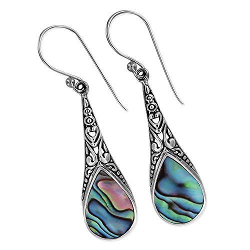 Sterling Silver Abalone Shell Teardrop Filigree Dangle Earrings (Shell Paua Teardrop)