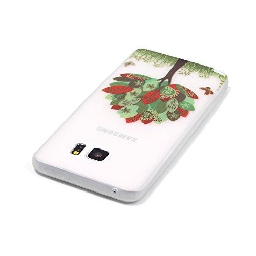 Samsung Galaxy S4 MiniCaso Funda,[Con Gratis Negro Kickstand] Keyye [Creativo luminoso duradero] Silicone Funda,Acuarela Imprenta Patrón [Anti-polvo] Exfoliante suave Transparente Delgado Gel TPU Piel Hoja roja Árbol de mariposas