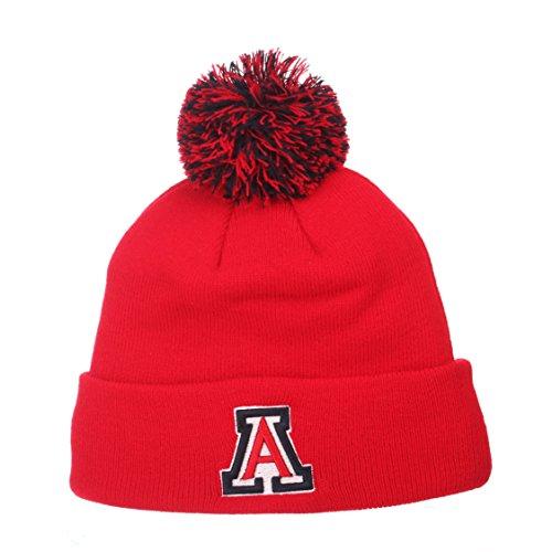 Team Colors Knit Beanie (NCAA Arizona Wildcats Pom Knit Beanie, Adjustable, Team Color)