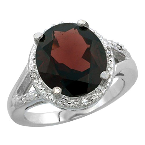 14K White Gold Natural Garnet Ring Oval 12x10mm Diamond Accent, size 10 - Ring Gold Garnet 14k Natural