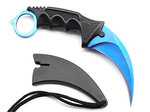 Karambit Knife Stainless Steel Fixed Blade Tactical Knife with Sheath and Cord Nice Knife for Hunting Camping Fishing and Field Survival (Blue)