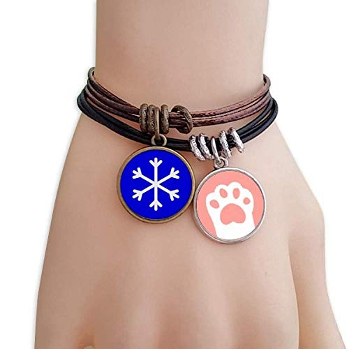 DIYthinker Snow Blue Square Warning Mark Cats Bracelet Leather Rope Wristband Couple Set