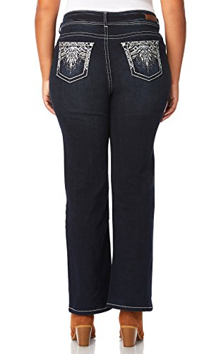 Low Rise Plus Size Jeans (WallFlower Plus Size Luscious Curvy Embellished Bootcut Jeans in Kaylee, 22 Plus)