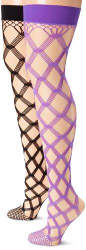 - MUSIC LEGS Women's Plus-Size 2 Pack Multi Fence Net Thigh Hi, Black/Purple, One