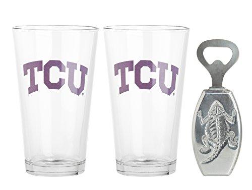 Arthur Court Designs Aluminum Texas Christian University Pub Glass / Opener Set (Christian University Texas)