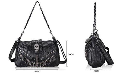 SHFANG Bolso de señora Messenger / bolso de cuero de la manera / bolso de cadena de costura, compras / trabajo / viaje, bolso negro