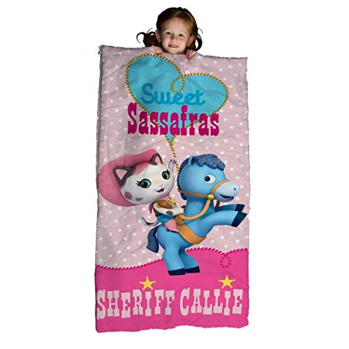 Kids Girls Pink Sheriff Callie Wild West Themed Sleeping Bag, Sweet Sassafras Western Cat Cowgirl Horse Lasso Motif Polka Dot Pattern Sleep Sack Blanket, Fuchsia Blue Light Travel Bed Roll, Polyester