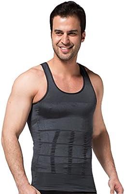 ZEROBODYS Faja Reductora Hombres Camisa de elástica de Adelgazamiento de la Forma Chaleco escultural Gris SS-M01 (XXL): Amazon.es: Deportes y aire libre