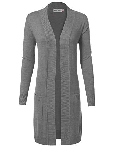 MAYSIX APPAREL Long Sleeve Long Line Knit Sweater Open Front Cardigan W/Pocket for Women HeatherGray M by MAYSIX APPAREL
