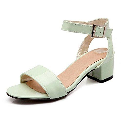 Sjjh Uk Komfortable 0 11 Med Kvinners Full Sko Lær Høyhælte Patent 5 Sandaler Størrelse Tykk Grønn a07rqwa