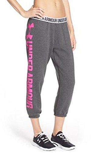 UA Under Armour Women's Wordmark Favorite Fleece Capri Pants (Medium) Gray/Berry