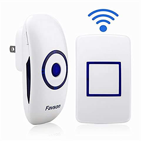 Favson Doorbell Kit Covering 1000ft Range with 36 Rings, Battery Included for Push Button - Jingle Bell Lights
