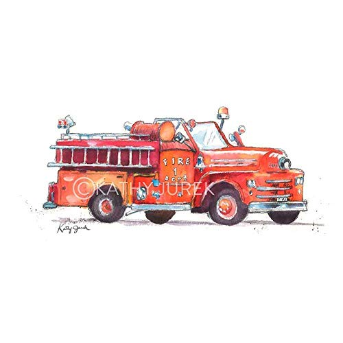Nursery Wall Decor | Red Fire Truck, Rescue Vehicle Wall Art Print for Kids Room | 8.5 x 11 Inch Gallery Quality Fine Art Giclée Print