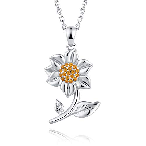 BEILIN S925 Silver Charm - You are My Sunshine Sunflower Necklace for Girls Women Lady Female (White Gold) ()