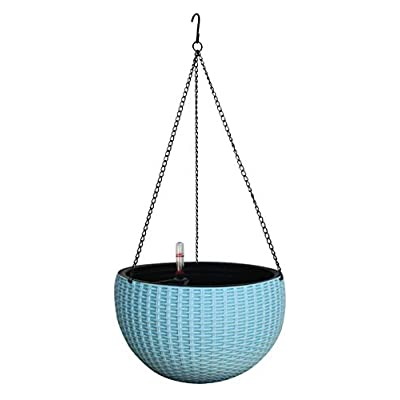 TABOR TOOLS Self-Watering Hanging Planter for Indoor-Outdoor. Wicker-Design, 10 Inch Diameter Plastic Weave Basket with Water Level Indicator Gauge. TB712A. (Light Blue)
