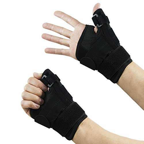 Thumb Wrist Splints (Thumb Brace Stabilizer Splint Spica Wrist Guard, Reversible, Single (1), One Size, Carpal Tunnel, Right and Left Hand, 3 Straps Adjustable, Fits Around Wrist 5.5 - 10.5 Inches)