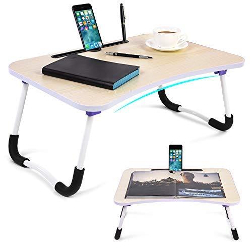 computadora portátil con ranuras para tablet y teléfono, mesa plegable para cama con patas en U, bandeja multifuncional...