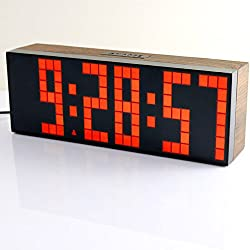 ECVISION Large Big Number Jumbo LED snooze wall desk Alarm clock count down timer with calendar (Red)