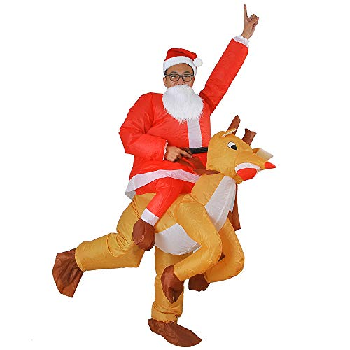 Inflatable elk Costume Blow up Fancy Dress Adult for Halloween Cosplay Party Christmas Suit