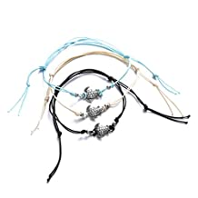 Naladoo 3 Pcs Three Color Rope Alloy Turtle Pendant Beach Anklet Foot Jewelry