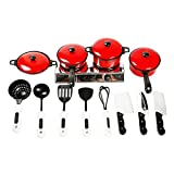 Kids Pretend Play Toy Set (Red Kitchenware Toys)