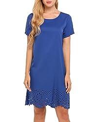 Se Miu Women S Round Neck A Line Cotton Casual Petite Short Dress Blue M
