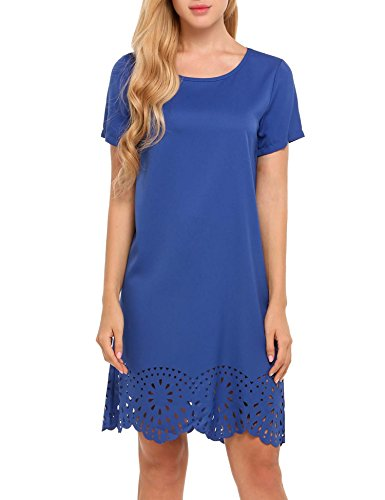 SE MIU Women's Maternity Dress Casual Crew Neck Loose Tunic Dress, Blue, XL